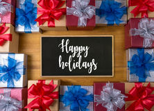 Happy holidays cheerful greeting good Happy  greeting card Celeb Royalty Free Stock Photo
