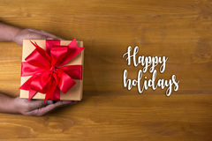 Happy holidays cheerful greeting good Happy  greeting card Celeb Royalty Free Stock Images