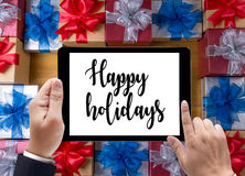 Happy holidays cheerful greeting good Happy  greeting card Celeb Royalty Free Stock Photos