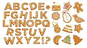 Happy holidays, Christmas abc letters font, graphic design vector. Signs in form of bakery with ginger, gingerbread man and star, house and pine tree, cookies royalty free illustration