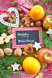 Happy Holidays with christmas cookies Stock Image