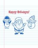 Happy Holidays! Christmas greeting card. Happy Holidays! Christmas greeting card with hand drawn cartoon Santa Stock Image