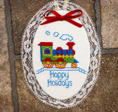 Happy Holidays Christmas Ornament with Train Royalty Free Stock Photo