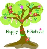 Happy Holidays Christmas Tree Stock Photo