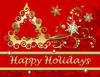 Happy Holidays Christmas Tree Snowflakes In Gold R Royalty Free Stock Image