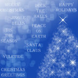 Happy Holidays. Christmastime background/card with various holiday sayings, bokeh, and Christmas tree made of starts on bright blue background vector illustration