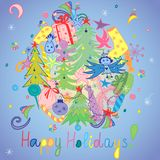 Happy Holidays! Colorful Hand Drawn Funny Doodle Holiday Set with Candies, Gifts, Candle, Fir Trees, Angel, Stars and Snowflakes. Children Cute Drawings on Royalty Free Stock Images