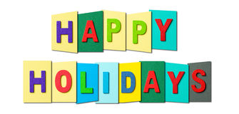 Happy Holidays. Colorful text of Happy Holidays on white background Stock Image