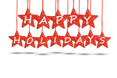 Happy holidays concept with red stars on white background. Happy holidays text with red stars on white background Royalty Free Stock Images