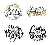 Happy Holidays and Santa Cookies, Merry Lettering vector illustration