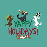 Happy Holidays cute dogs wearing silly hats. Greeting card flat design. EPS 10 vector royalty free illustration vector illustration