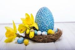 happy holidays daffodils αυγό Πάσχας Στοκ Φωτογραφία
