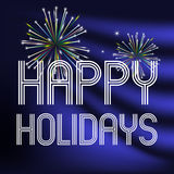 Happy holidays on dark blue background with fireworks eps10. Happy holidays on dark blue background with fireworks vector illustration