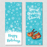 Happy Holidays design vertical background set with cute cartoon deer Royalty Free Stock Images