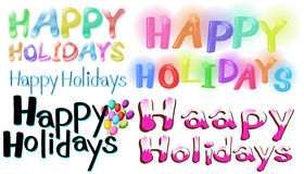 Happy holidays. Different font designs of Happy Holidays Royalty Free Stock Photo