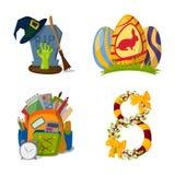 Happy holidays different icons vector holidays symbols decoration traditional celebration gift badge. Fashion cartoon style party colorful elements stock illustration
