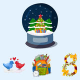 Happy holidays different icons vector holidays symbols decoration traditional celebration gift badge. Fashion cartoon style party colorful elements Stock Photo