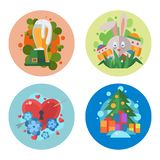 Happy holidays different icons vector holidays symbols decoration traditional celebration gift badge. Fashion cartoon style party colorful elements Royalty Free Stock Photo
