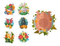 Happy holidays different icons vector holidays symbols decoration traditional celebration gift badge. Fashion cartoon style party colorful elements vector illustration