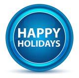 Happy Holidays Eyeball Blue Round Button stock illustration