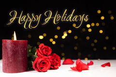 Happy holidays. Festive background with golden lights and text happy holidays Stock Images