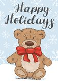 Happy Holidays. Festive card with a teddy bear royalty free illustration