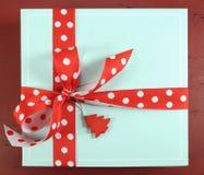 Happy holidays festive Christmas pale aqua blue gift box - overhead Stock Image