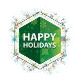 Happy Holidays floral plants pattern green hexagon button stock illustration