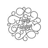 Happy Holidays flourish calligraphy lettering of swash line typography for greeting card design. Vector festive ornamental quote C. Hristmas or New Year text of Stock Image