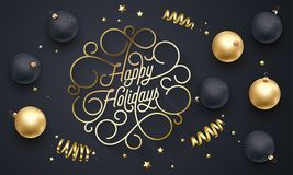 Happy Holidays flourish golden calligraphy lettering of swash line gold typography for Christmas greeting card design. Vector fest. Ive golden decoration and New Royalty Free Stock Image