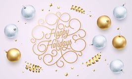 Happy Holidays flourish golden calligraphy lettering of swash line gold typography for Christmas greeting card design. Vector fest. Ive golden decoration and New Stock Photography