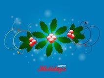 Happy holidays flourish over blue glowing background. Elegant Festive Flourish Over Glowing Blue Background with Happy Holidays Text royalty free illustration