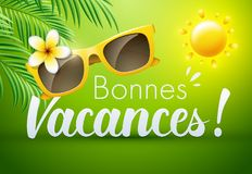 Happy Holidays in French : Bonnes Vacances. Vector illustration Stock Photo