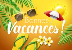 Happy Holidays in French : Bonnes Vacances. Vector illustration Royalty Free Stock Photos