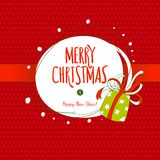 Happy holidays fun hand drawing label with gift box Royalty Free Stock Photos