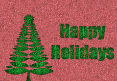 Happy holidays in glitter with retro christmas tree Stock Photo