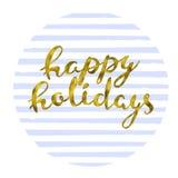 Happy holidays Gold glittering elegant modern brush lettering design on a violet striped background vector illustration.  Royalty Free Stock Image