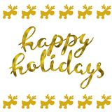 Happy holidays Gold glittering elegant modern brush lettering design on a wight background and dearvector illustration. Happy holidays Gold glittering elegant Stock Photos