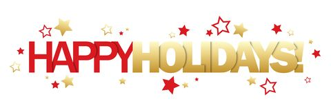 HAPPY HOLIDAYS gold and red banner. HAPPY HOLIDAYS gold and red vector banner with stars vector illustration