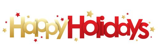 HAPPY HOLIDAYS gold and red banner. HAPPY HOLIDAYS gold and red vector banner with stars stock illustration