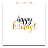 Happy holidays gold text isolated Royalty Free Stock Images