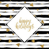 Happy holidays gold text on striped background with golden glitter triangle Stock Images