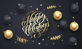 Happy Holidays golden decoration, hand drawn gold calligraphy font for greeting card black background. Vector Christmas or New Yea Royalty Free Stock Image