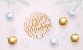 Happy Holidays golden decoration, hand drawn gold calligraphy font for greeting card white background. Vector Christmas or New Yea Stock Image