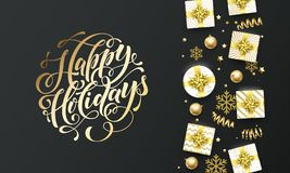 Happy Holidays golden lettering text premium black background. Vector Christmas and New Year greeting card calligraphy lettering. Happy Holidays golden lettering vector illustration