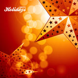 Happy holidays golden stars on glowing background Royalty Free Stock Image