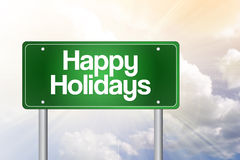 Happy Holidays Green Road Sign Royalty Free Stock Photos