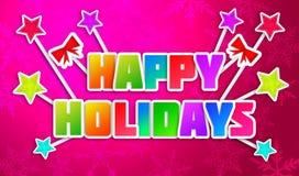Happy Holidays Greeting Art Paper Card. Digital art Stock Images