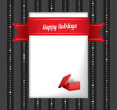 Happy Holidays greeting card. With a central blank white card for your festive message decorated with a red gift box and ribbon with the words Happy Holidays Royalty Free Stock Photography