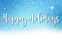 Blue and white happy holidays greeting card background illustration. Happy holidays greeting card background illustration with snowflakes Royalty Free Stock Photos